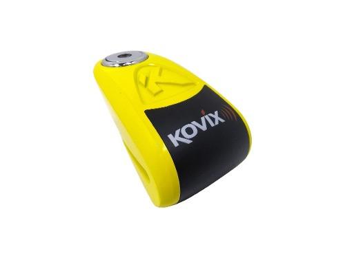 Traba Disco Kovix Con Alarma Amarillo Perno 10mm