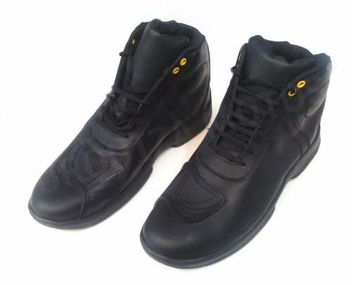 Botas Moto Solco City Black Cuero Con Protecciones Neg am Um