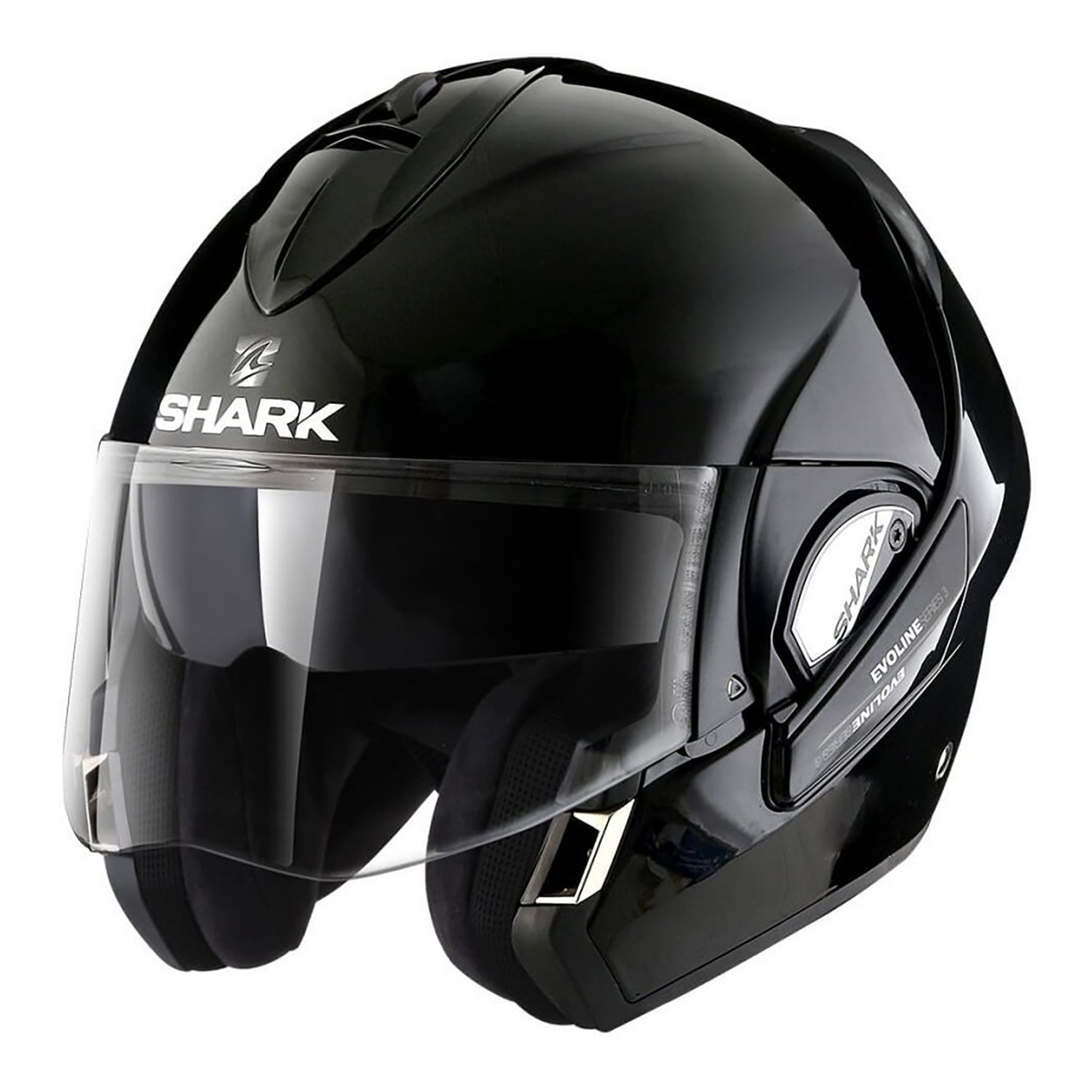 Casco Rebatible Shark Evoline 3 Negro Brillo