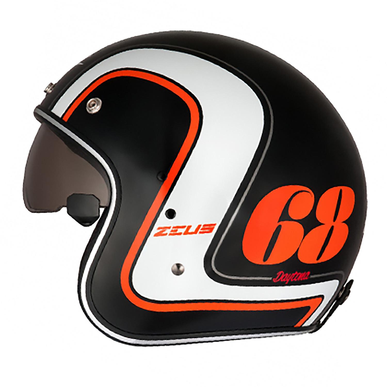 Casco Abierto Zeus GJ-380 K36 Negro Mate Naranja