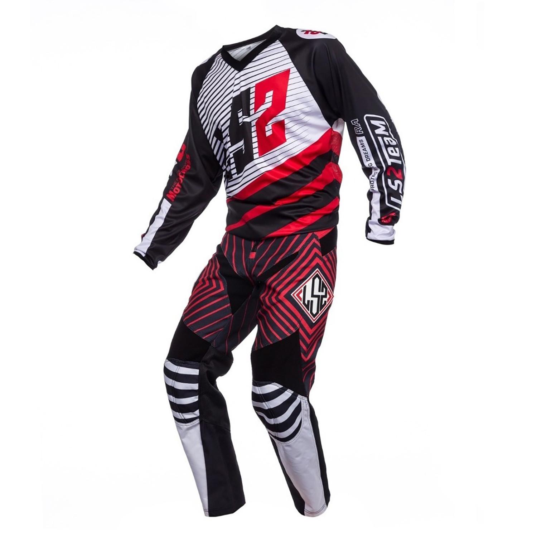 Conjunto Ls2 Mx Moto Team Negro/Rojo