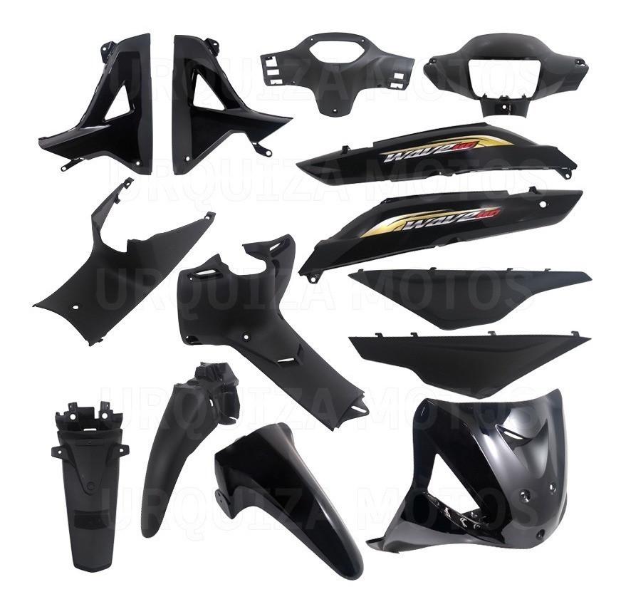 Kit Plasticos Negro Calcos Honda Wave 2014 13 Piezas Yoyo