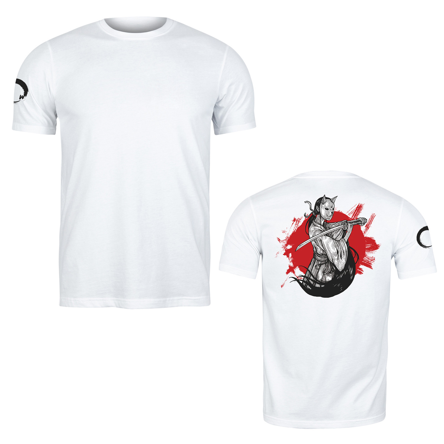 Remera Algodon Samurai Warrior Mask Blanco