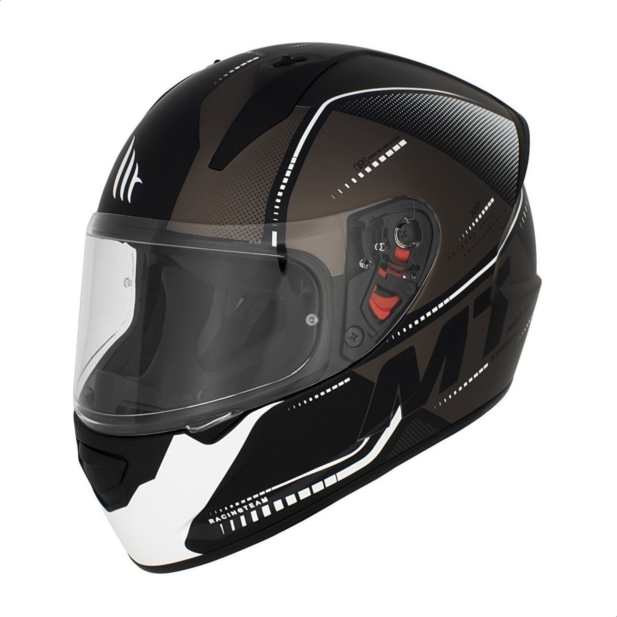 Casco Integral Mt Stinger Gultter G0 Negro Blanco Mate