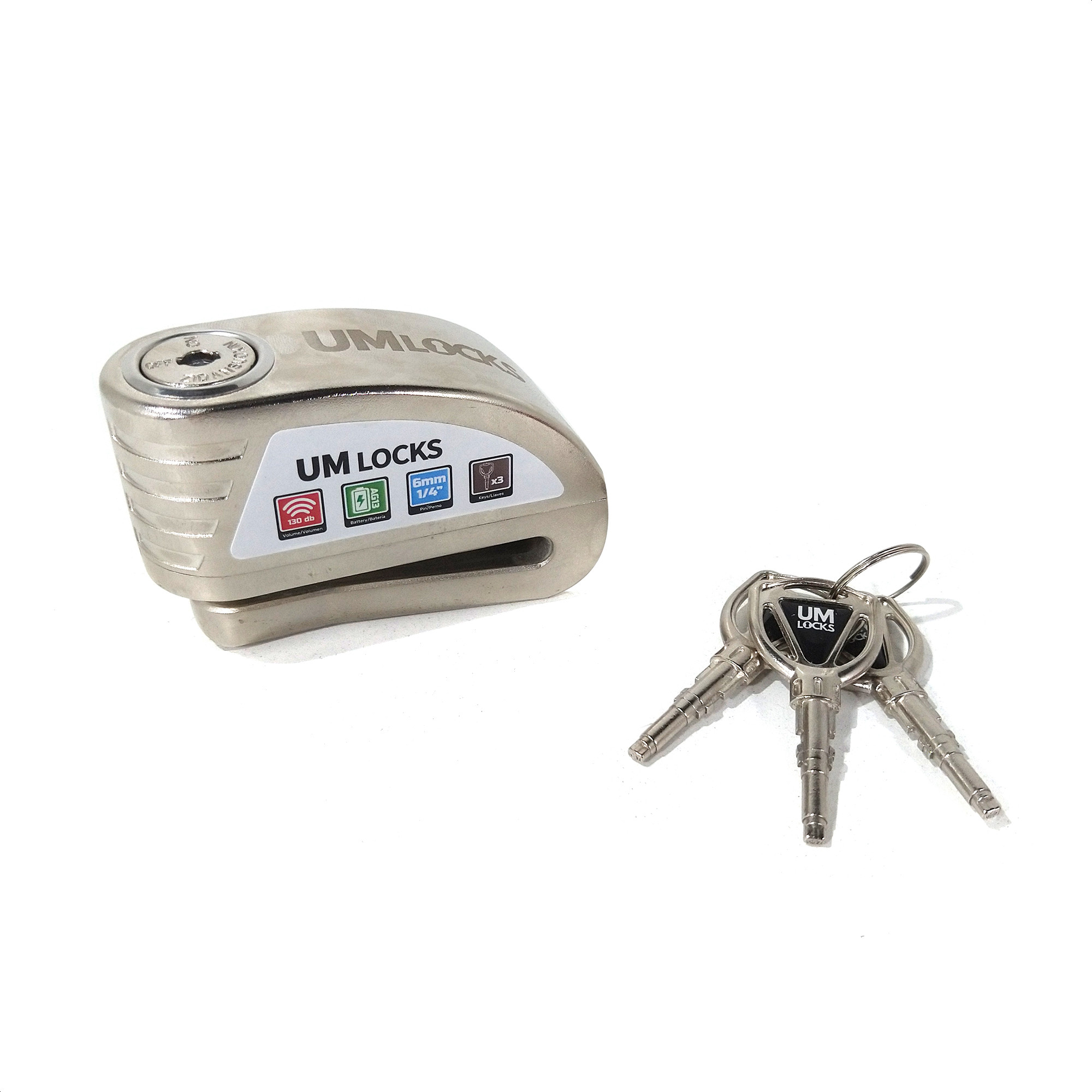 Traba Disco Um Locks Con Alarma Acero Perno 6mm Dx19