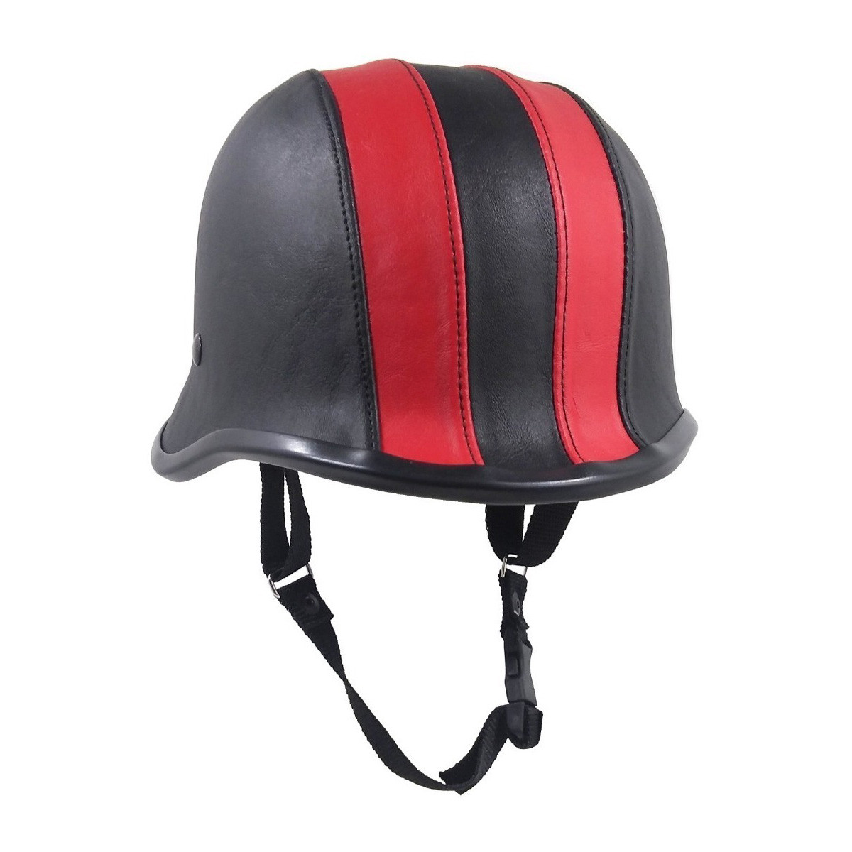 Casco Abierto Chopper Custom Aleman Rojo Negro Cuero