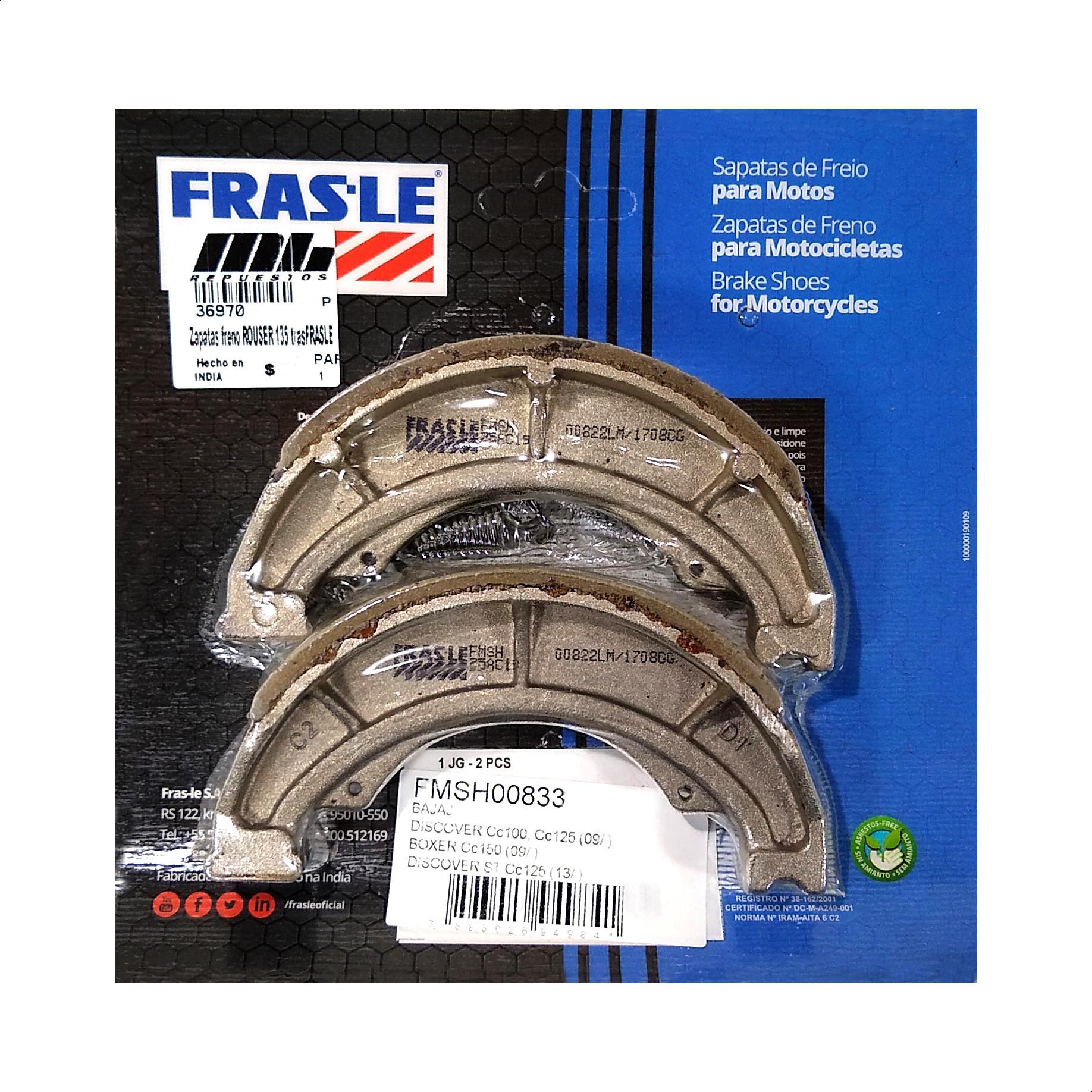 Zapatas de Freno Frasle 833 Suzuki Gn / En 125 / Bajaj Boxer 150