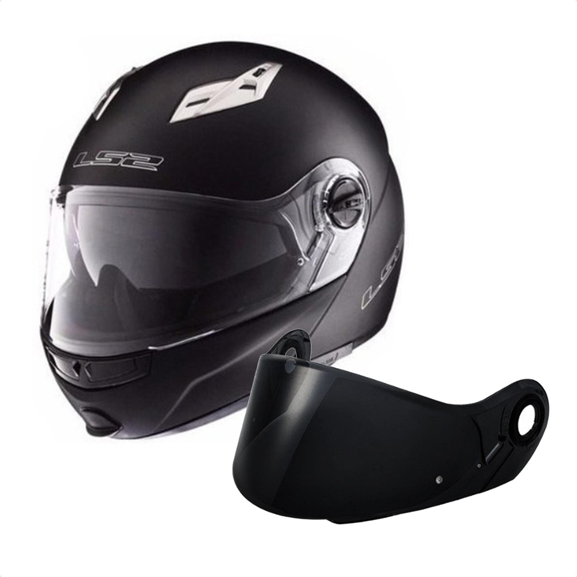 Casco  Rebatible Ls2 Ff 370 Easy Negro + Visor De Regalo