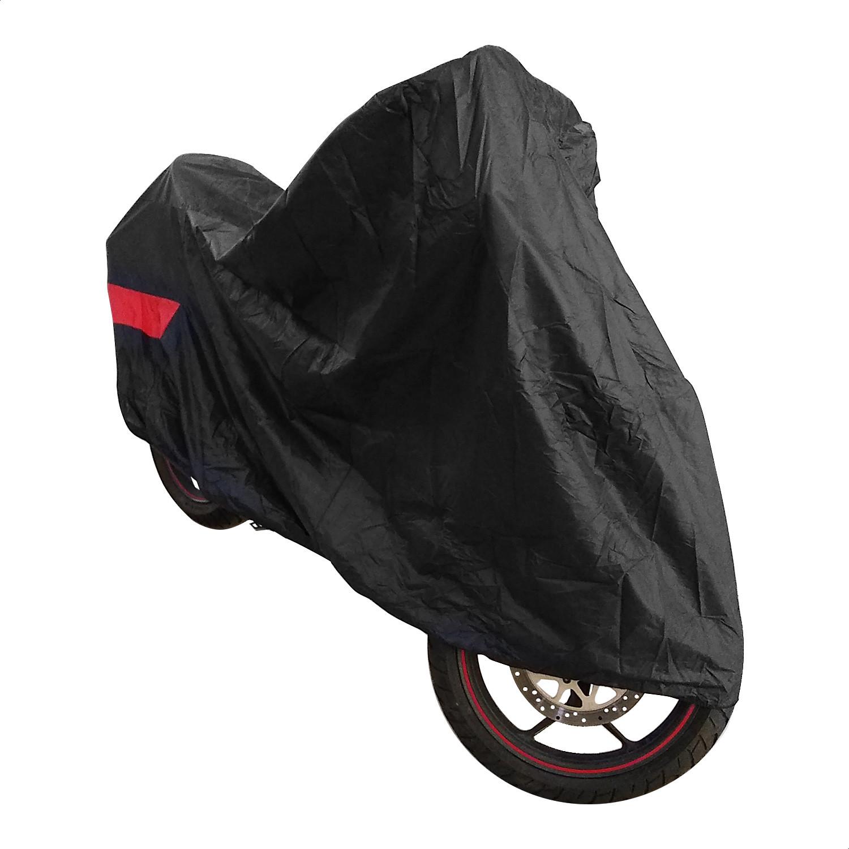 Funda Cubre Moto Cycle Negro Rojo Con Agarres