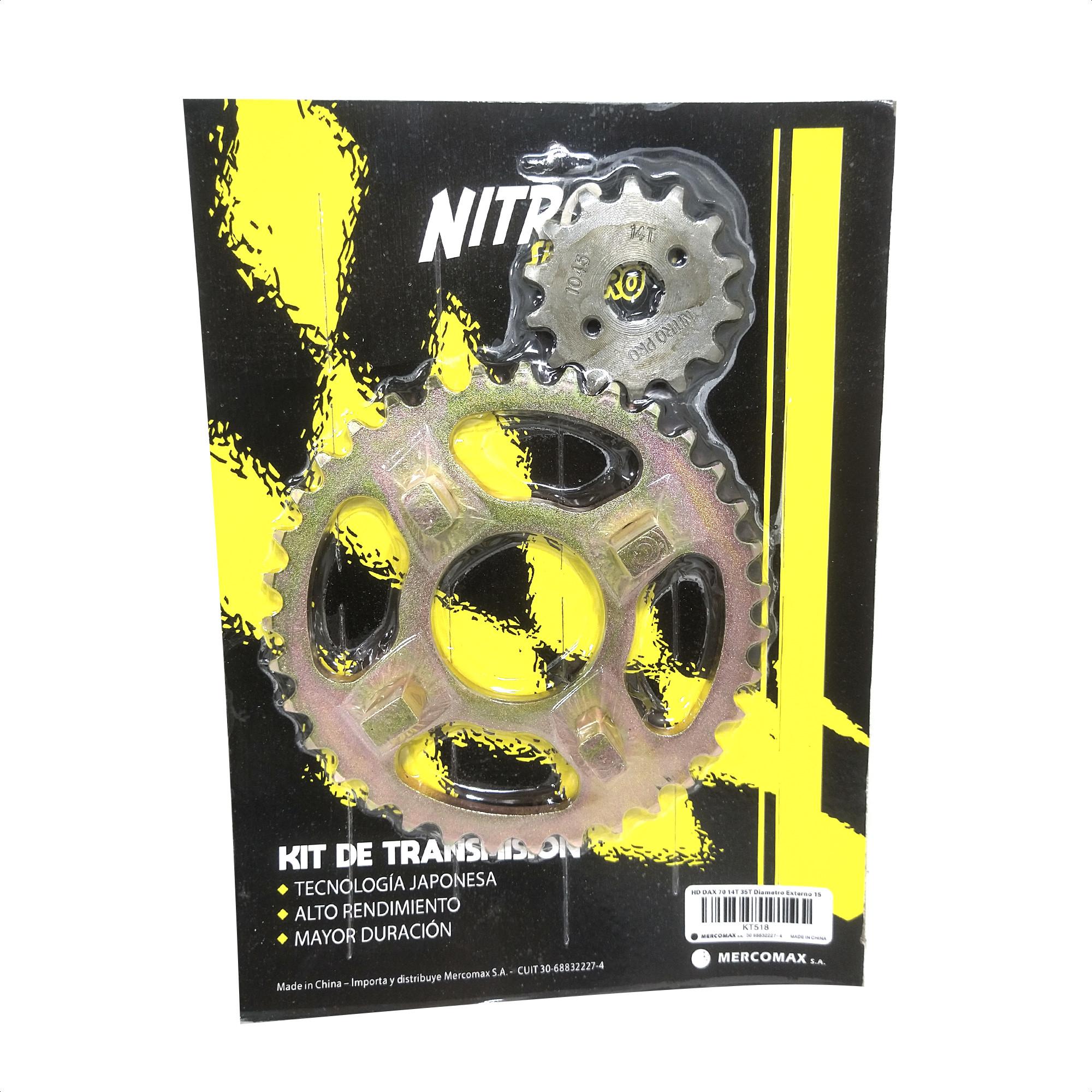 Kit Corona y Piñon de Transmision Honda Dax 70 35/14 Nitro