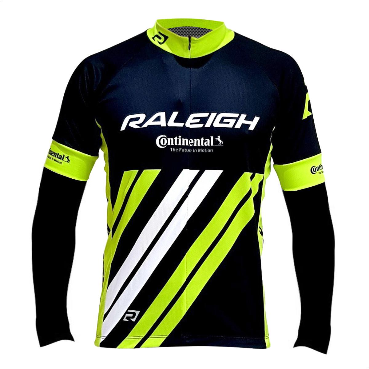 Remera Jersey Manga Larga Bicicleta Raleigh Negro Fluo