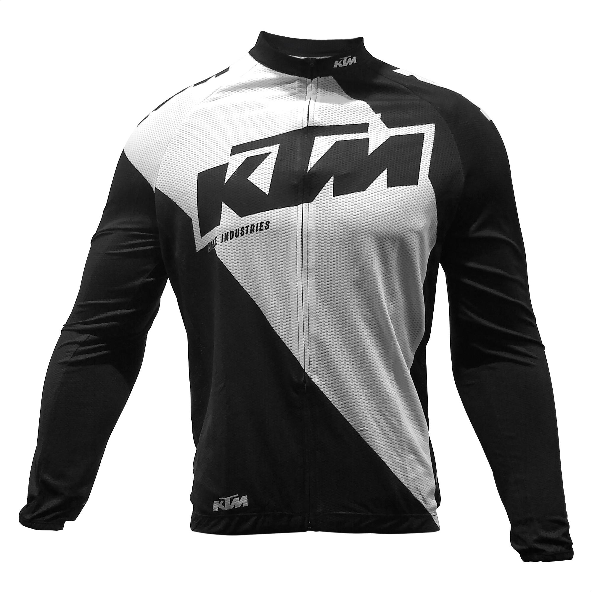 Remera Jersey Manga Larga Bicicleta KTM Team Negro Blanco